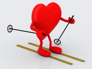 Heart on skis Valentine